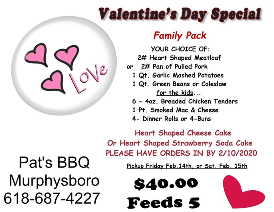 Pats BBQ Valentines special